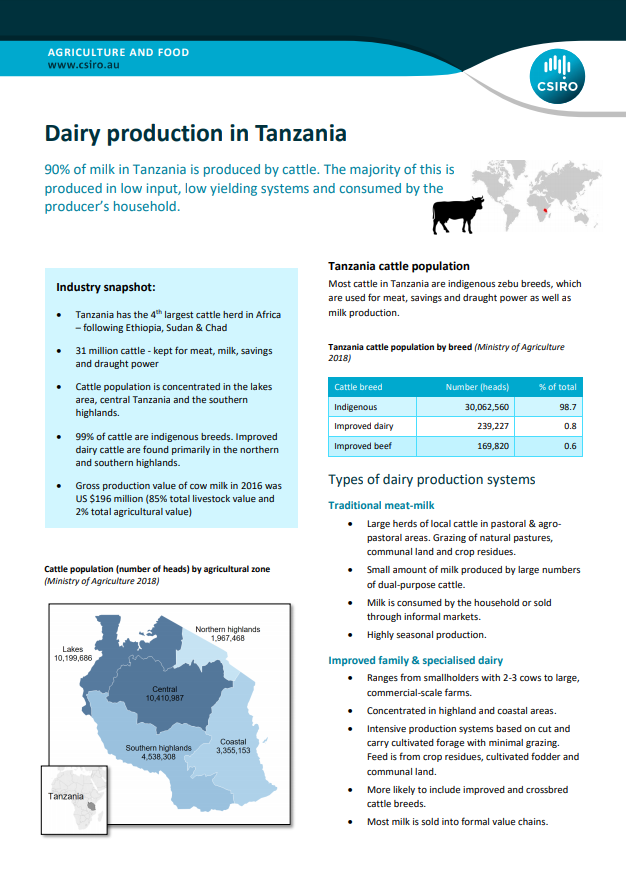 Dairy production in Tanzania fact sheet
